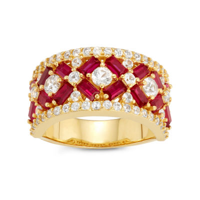 Womens Red Ruby 14K Gold Over Silver Cocktail Ring