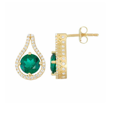 Lab Created Green Emerald 14K Gold Over Silver 16mm Round Stud Earrings