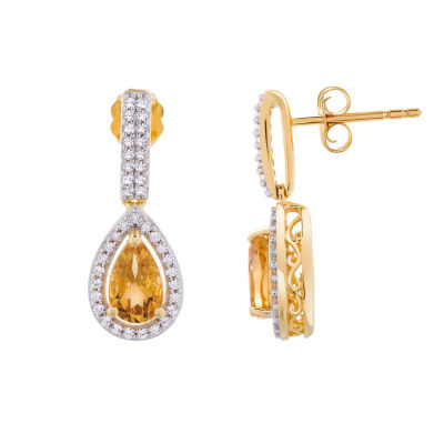 Genuine Yellow Citrine 14K Gold Over Silver Drop Earrings