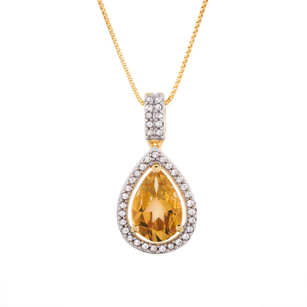 Yellow Citrine Pear Gold Over Silver Pendant