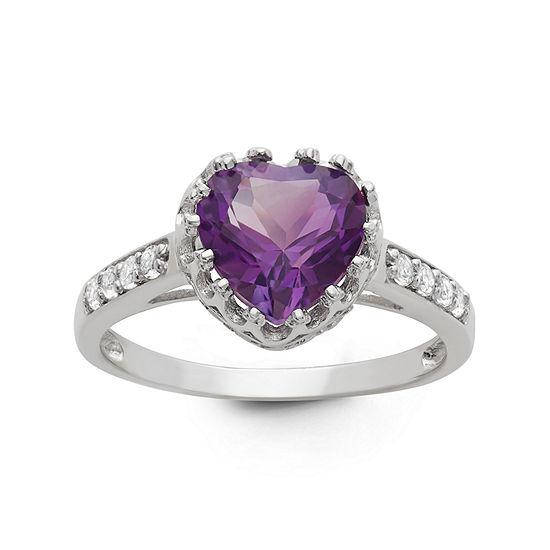 Womens Genuine Purple Amethyst Sterling Silver Heart Cocktail Ring