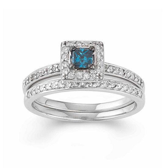 Womens 1/2 CT. T.W. Genuine Blue Diamond 10K Gold Square Bridal Set