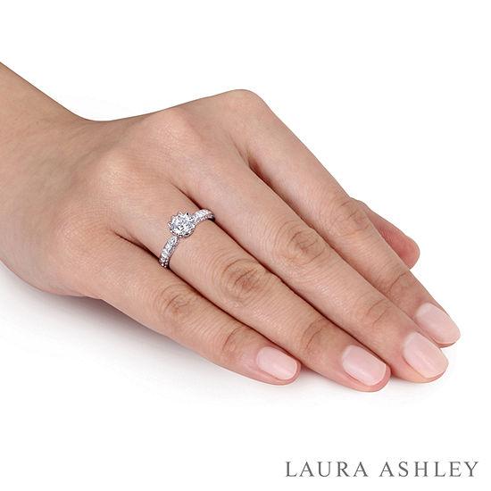 Laura Ashley Womens 1 1/4 CT. T.W. Genuine White Diamond 14K Gold Engagement Ring