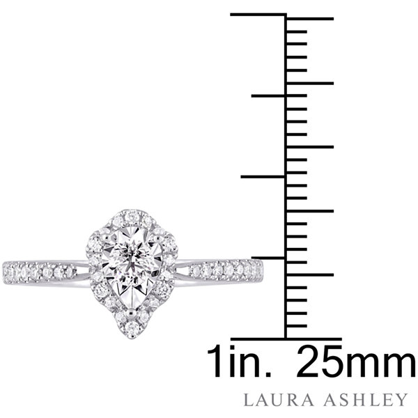 Laura Ashley Womens 3/8 CT. T.W. Genuine Round White Diamond Sterling Silver Engagement Ring