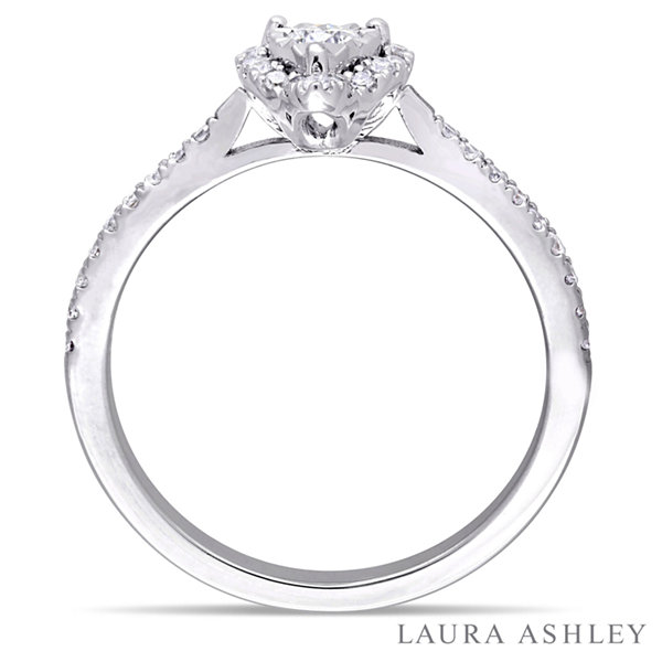 Laura Ashley Womens 3/8 CT. T.W. Round White Diamond Sterling Silver Engagement Ring