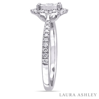 Laura Ashley Womens 1/3 CT. T.W. Genuine Round White Diamond Sterling Silver Engagement Ring