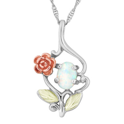 Landstroms Black Hills Gold Lab Created Opal Sterling Silver Pendant Necklace