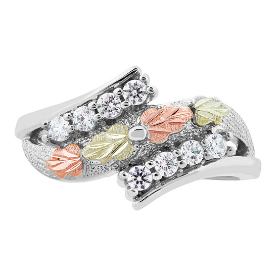 Landstroms Black Hills Gold Womens Cubic Zirconia Sterling Silver Bypass Ring