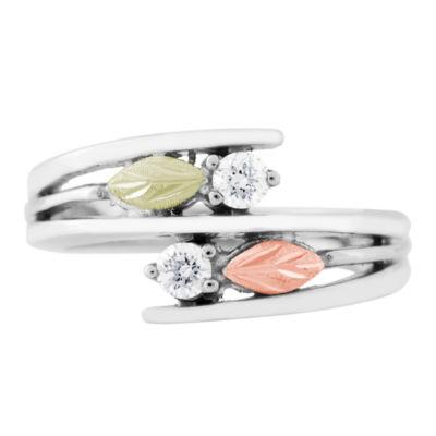 Landstroms Black Hills Gold Womens Diamond Sterling Silver Bypass Ring