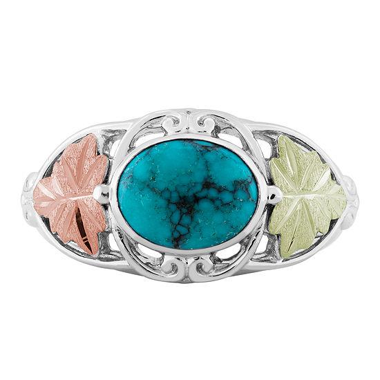 Landstroms Black Hills Gold Genuine Turquoise Sterling Silver Cocktail Ring