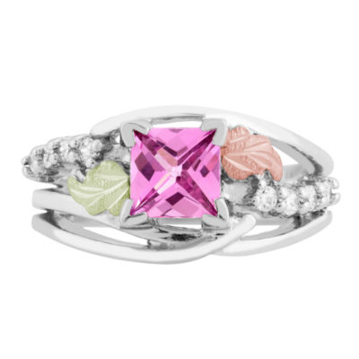 Landstroms Black Hills Gold Lab Created Pink Sapphire Sterling Silver Cocktail Ring
