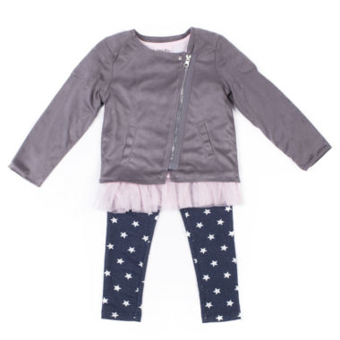 Little Lass Seude Moto Jacket with Printed Star Legging Set- Preschool Girls