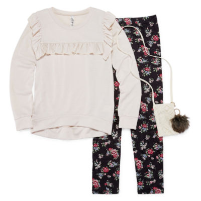 Knit Works Long Sleeve Ruffle Detail Top Legging Set with Purse & KeyChain- Girls' 7-16 & Plus