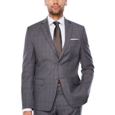 Collection By Michael Strahan Dark Gray Glen Plaid Suit Jacket Classic Fit
