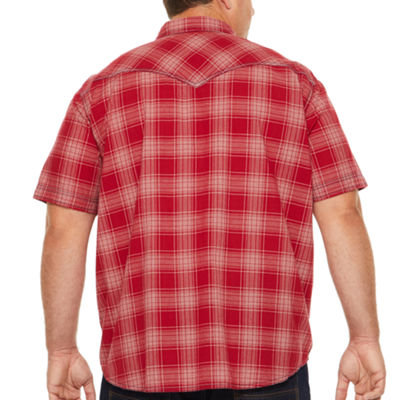 The Foundry Big & Tall Supply Co. Short Sleeve Plaid Button-Front Shirt-Big and Tall
