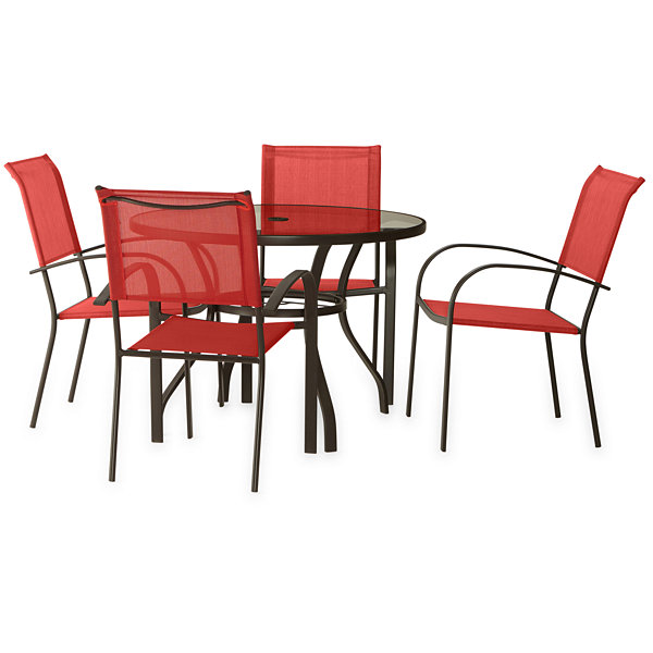 Outdoor Oasis Melbourne 5 Pc Round Gl Patio Dining Set With Red Chairs