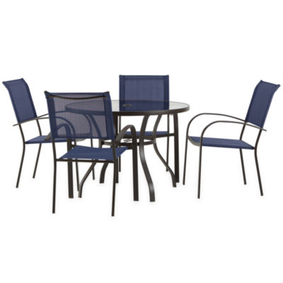 Outdoor Oasis Melbourne 5-pc. Round Glass Patio Dining Set with Blue Chairs