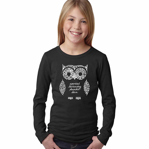Los Angeles Pop Art Owl Long Sleeve Girls Word ArtT-Shirt