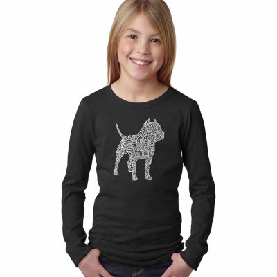Los Angeles Pop Art Pitbull Long Sleeve Girls WordArt T-Shirt