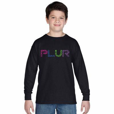 Los Angeles Pop Art Plur Long Sleeve Boys Word ArtT-Shirt