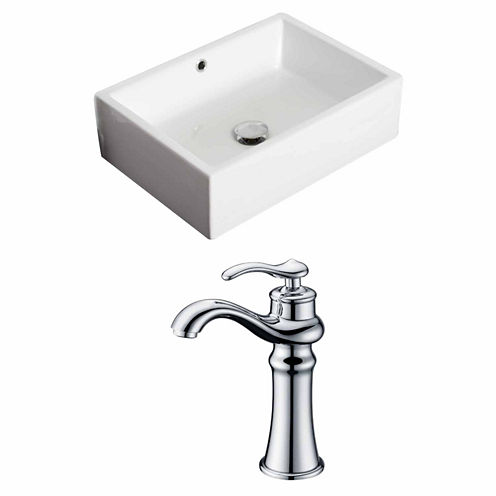 American Imaginations 20-in. W Above Counter WhiteVessel Set For Deck Mount Drilling - Faucet Included