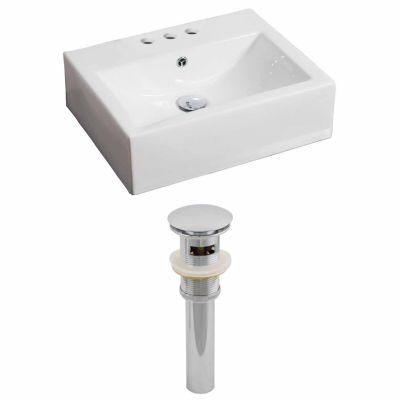 American Imaginations 21-in. W Wall Mount White Vessel Set For 3H4-in. Center Faucet