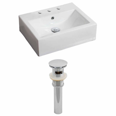 American Imaginations 21-in. W Wall Mount White Vessel Set For 3H8-in. Center Faucet