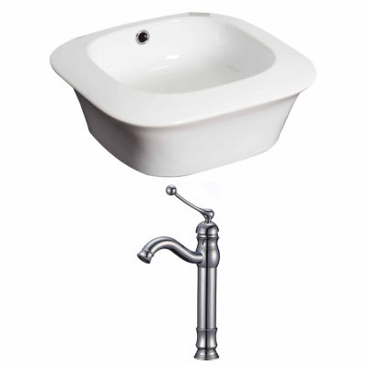 American Imaginations 16.75-in. W Above Counter White Vessel Set For Deck Mount Drilling - Faucet Included