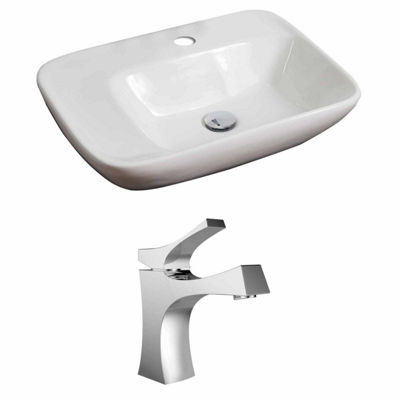 American Imaginations 23.5-in. W Above Counter White Vessel Set For 1 Hole Center Faucet - Faucet Included