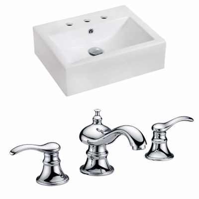 American Imaginations 20.25-in. W Wall Mount WhiteVessel Set For 3H8-in. Center Faucet - Faucet Included