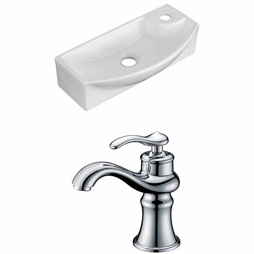 American Imaginations 17.75-in. W Wall Mount WhiteVessel Set For 1 Hole Right Faucet - Faucet Included