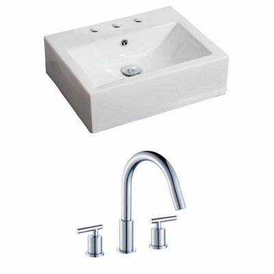 American Imaginations 21-in. W Wall Mount White Vessel Set For 3H8-in. Center Faucet - Faucet Included