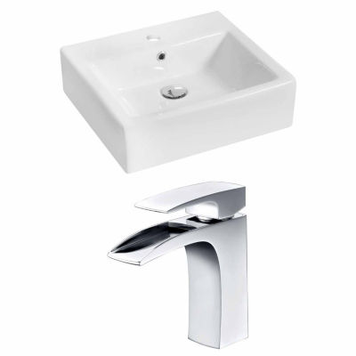 American Imaginations 21-in. W Above Counter WhiteVessel Set For 1 Hole Center Faucet - Faucet Included