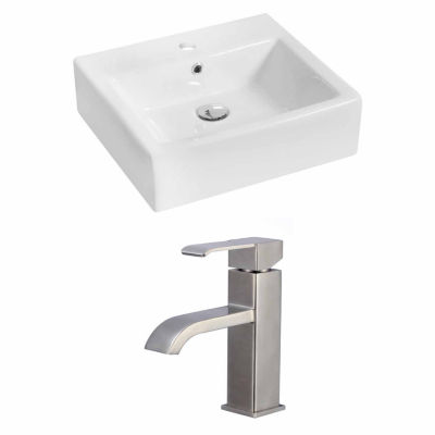 American Imaginations 21-in. W Above Counter White Vessel Set For 1 Hole Center Faucet - Faucet Included