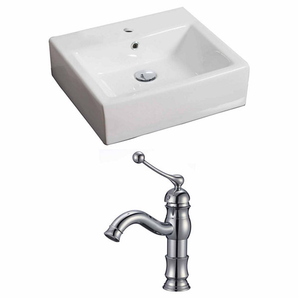 American Imaginations 21-in. W Wall Mount White Vessel Set For 1 Hole Center Faucet - Faucet Included