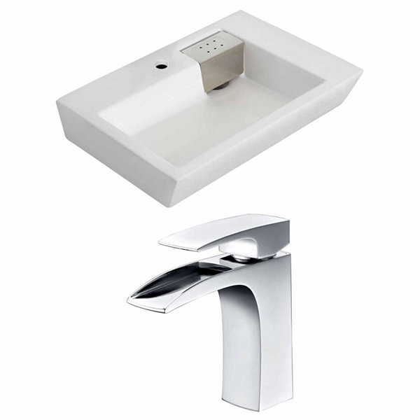 American Imaginations 26-in. W Wall Mount White Vessel Set For 1 Hole Center Faucet - Faucet Included