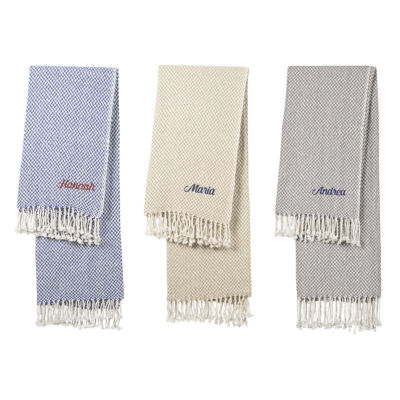 Cathy's Concepts Personalized Herringbone Cotton Throw