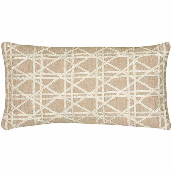 "Rizzy Home Caning Pattern Rectangular Throw Pillow- 11"" x 21"""