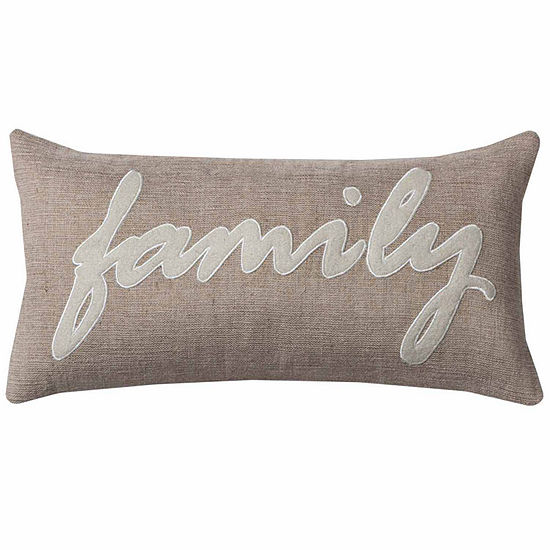 "Rizzy Home Family Word Rectangular Throw Pillow -11"" x 21"