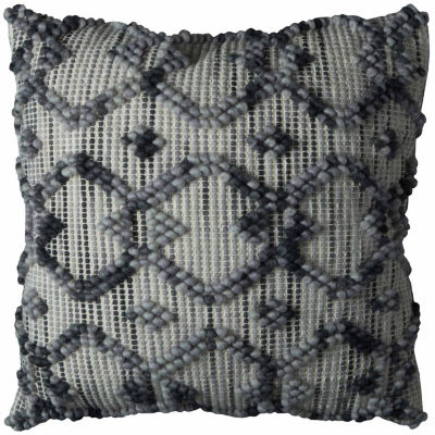 "Rizzy Home Intertwined Diamond Square Throw Pillow- 20"" x 20"""