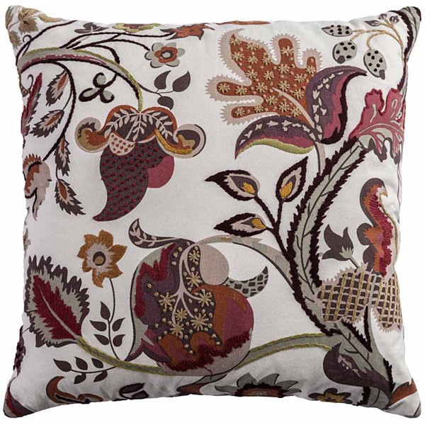 "Rizzy Home Cotton Jacobean Floral Square Throw Pillow - 20"" x 20"""