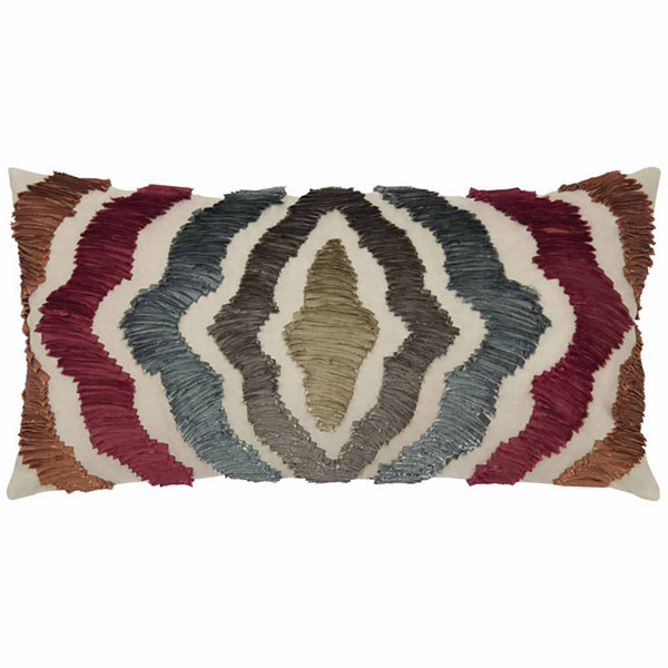 "Rizzy Home Radiating Lines Rectangular Throw Pillow - 11"" x 21"""