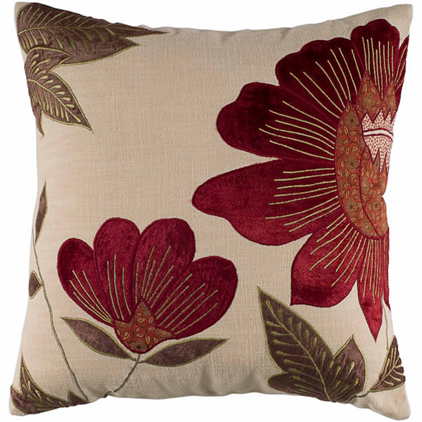 "Rizzy Home Red and Cream Floral Square Throw Pillow - 18"" x 18"""