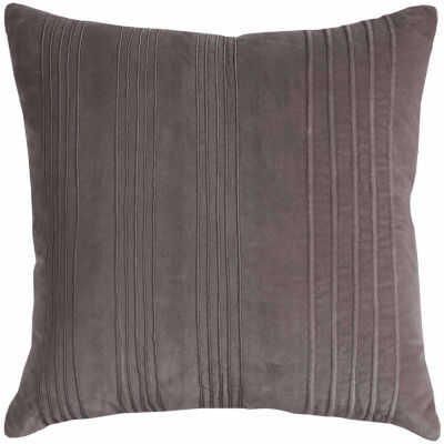 """Rizzy Home Solid With Textured Strips Square ThrowPillow - 20"""" x 20"""""""