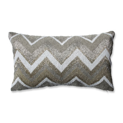 Pillow Perfect Beaded Chevron Gold Rectangular Throw Pillow