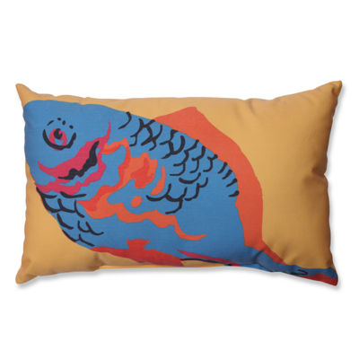 Pillow Perfect Blue Fish Rectangular Throw Pillow