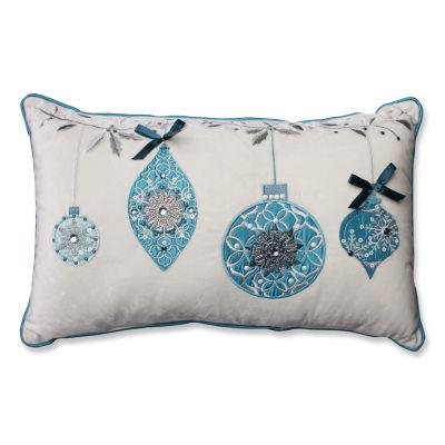 Pillow Perfect Blue Ornaments White Velvet Rectangular Throw Pillow
