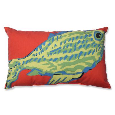 Pillow Perfect Blue-Green Fish Rectangular Throw Pillow