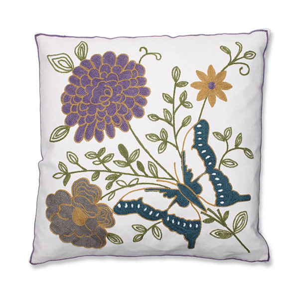 Pillow Perfect Butterfly Floral 18-inch Embroidered Throw Pillow