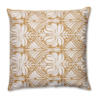 Pillow Perfect Contemporary Gold Damask 18-inch Embroidered Throw Pillow